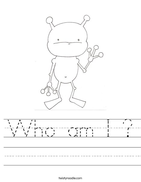 Who am I Worksheet - Twisty Noodle