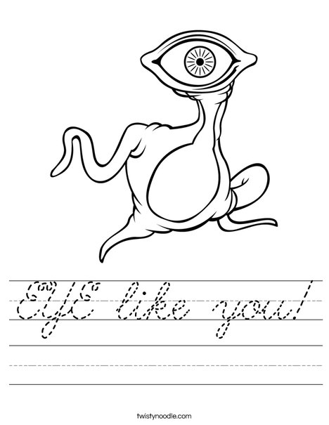 Alien with Big Eye Worksheet