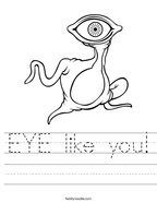 EYE like you Handwriting Sheet