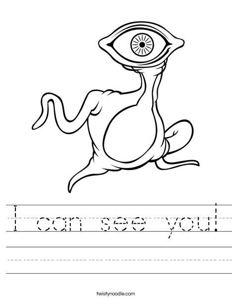 Alien with Big Eye Worksheet