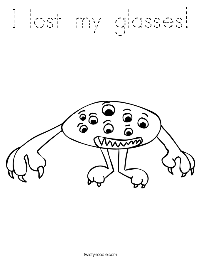 I lost my glasses! Coloring Page