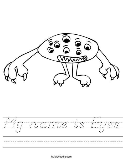 Alien with Eyes Worksheet