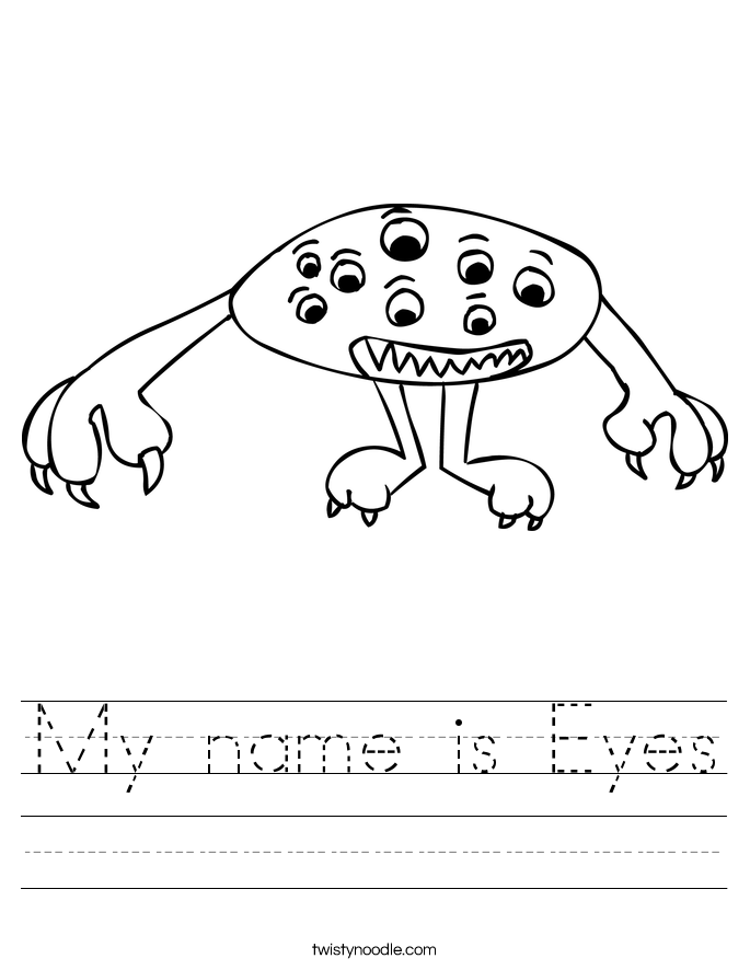 My Name Is Eyes Worksheet Twisty Noodle