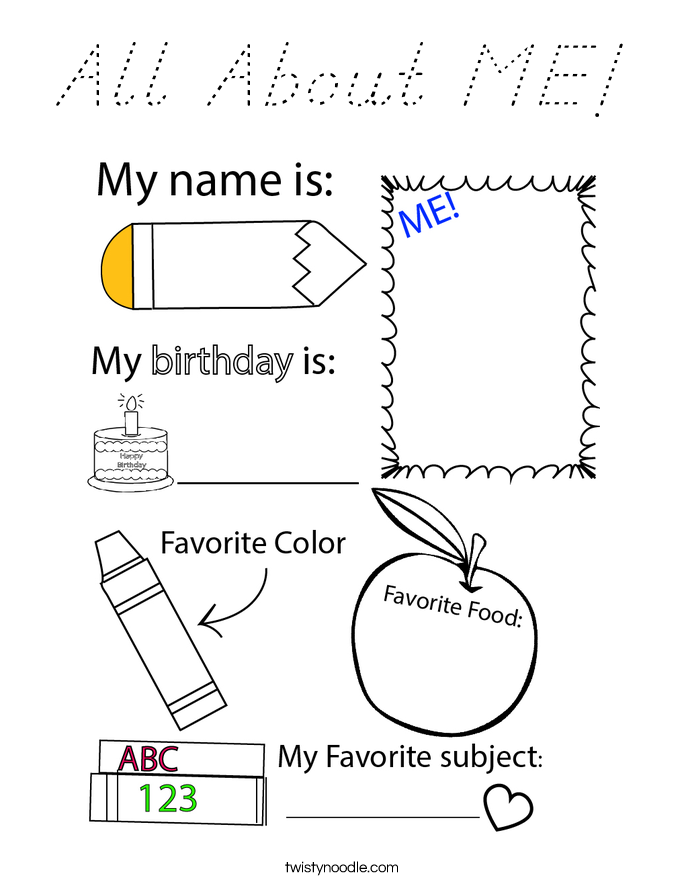 All About ME! Coloring Page