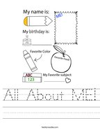 All About ME Handwriting Sheet