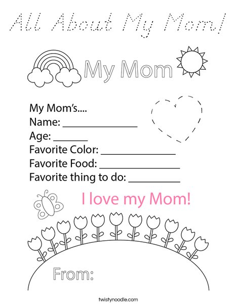 All About My Mom! Coloring Page