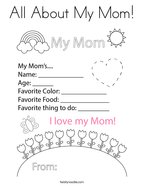 All About My Mom Coloring Page