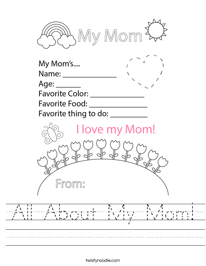 All About My Mom! Worksheet