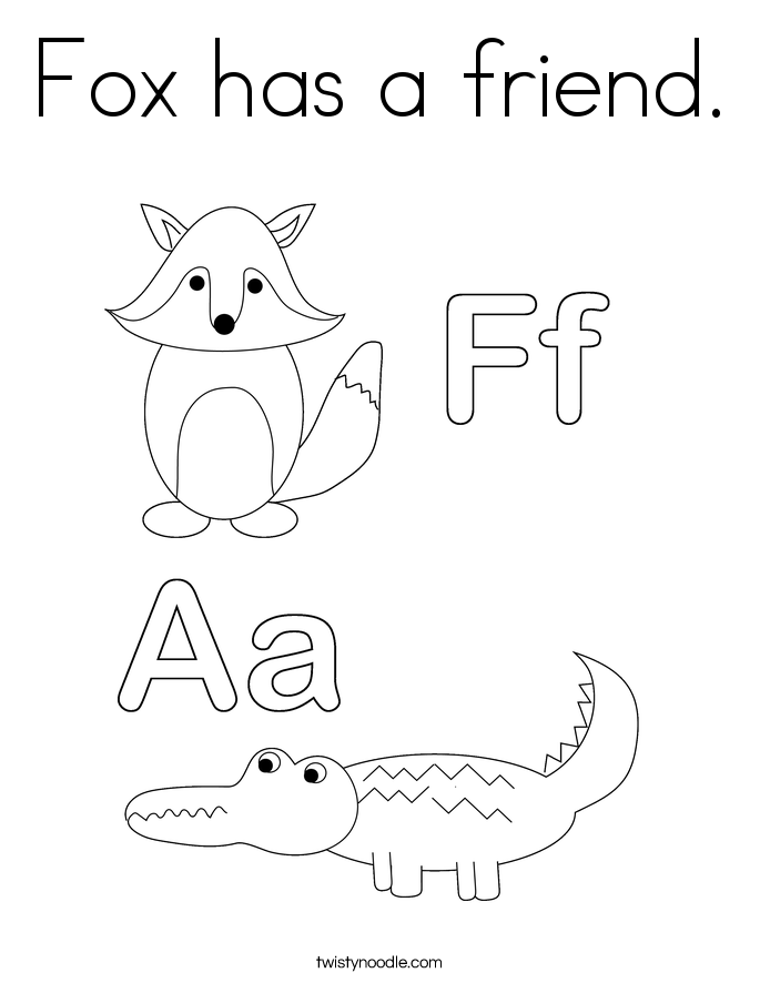 Fox has a friend. Coloring Page