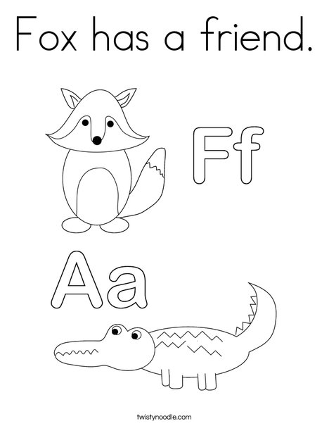 Alligator and Fox Coloring Page