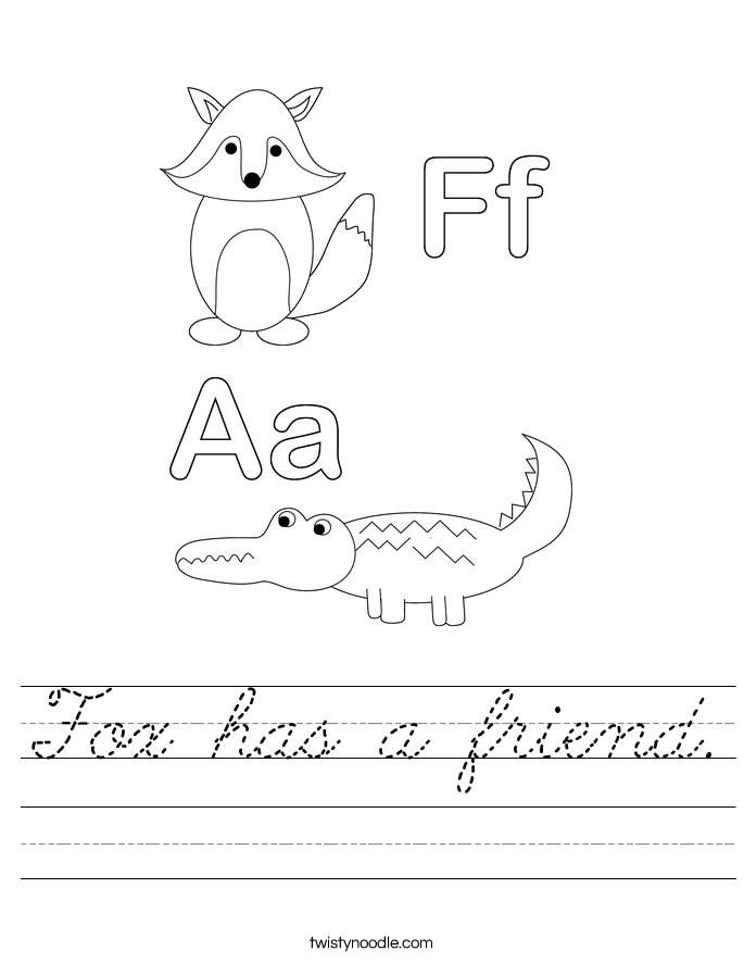 Fox has a friend. Worksheet