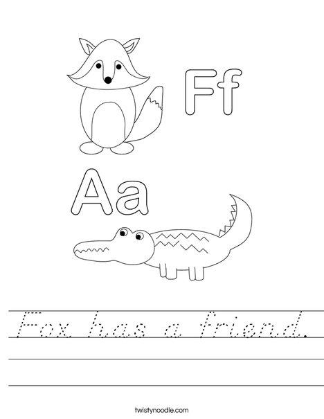 Alligator and Fox Worksheet