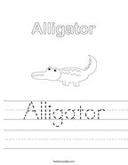Alligator Handwriting Sheet