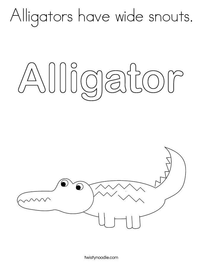 Alligators have wide snouts. Coloring Page