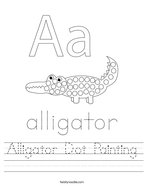 Alligator Dot Painting Handwriting Sheet
