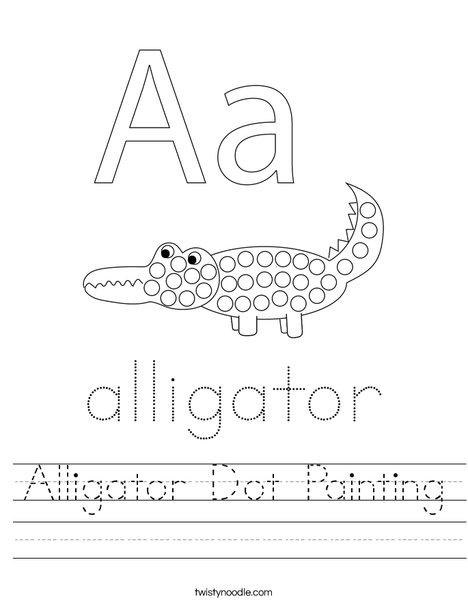 Alligator Dot Painting Worksheet