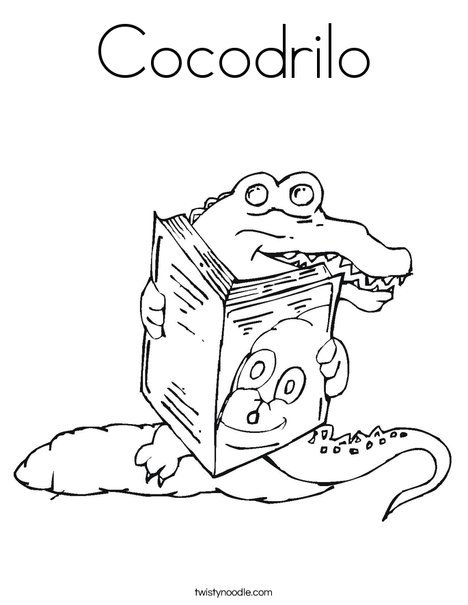 Alligator reading a book Coloring Page