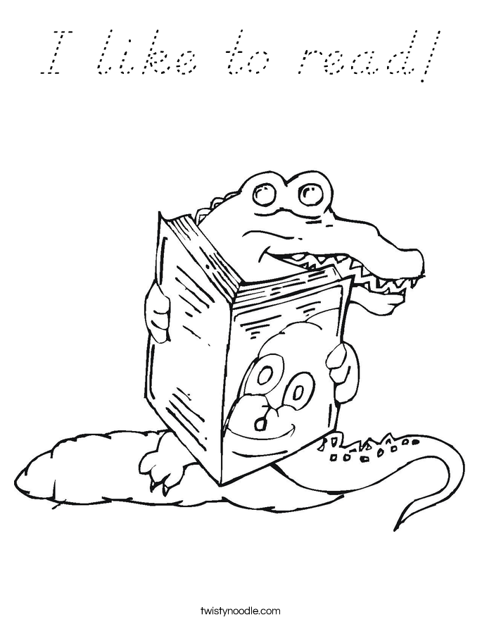 I like to read! Coloring Page