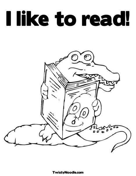 Coloring Pages Of Animals Reading : Reading animals colour