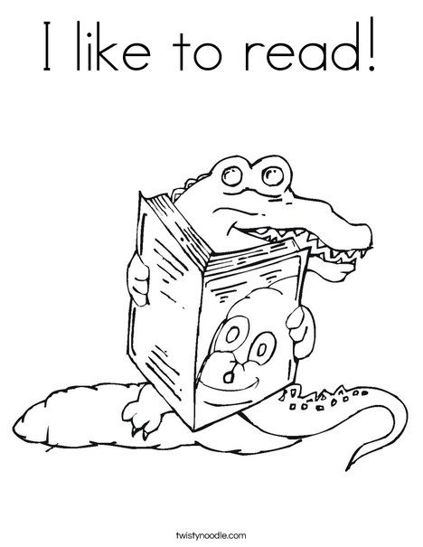 I like to read Coloring Page - Twisty Noodle