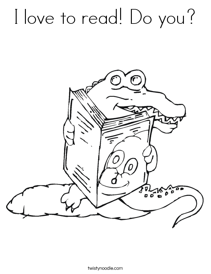 I love to read! Do you? Coloring Page