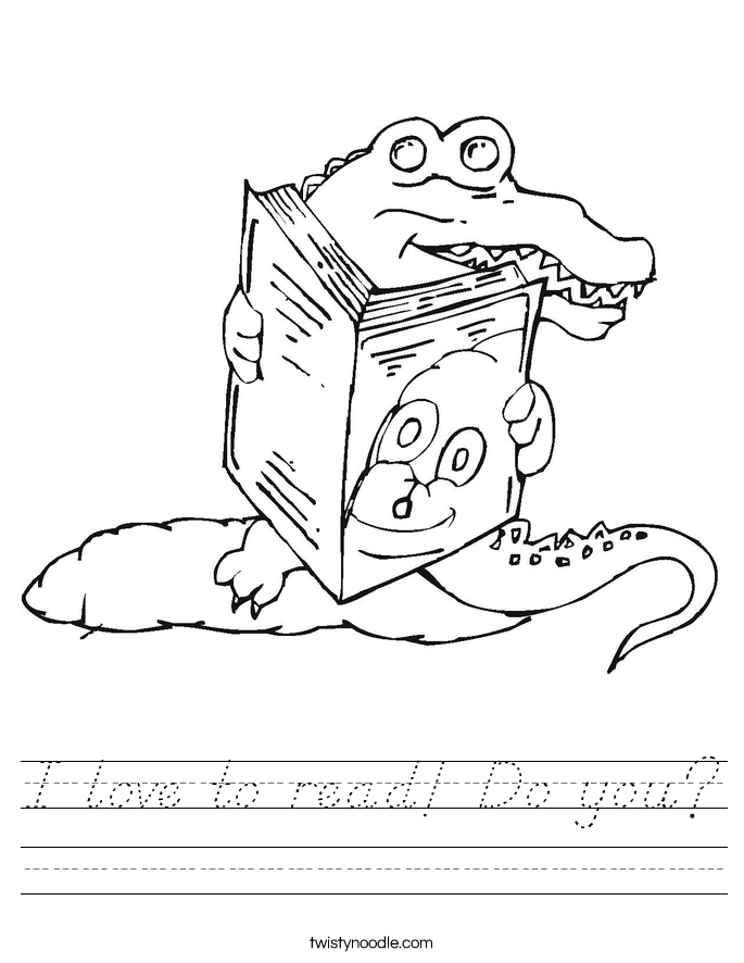 I love to read! Do you? Worksheet