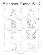 Alphabet Puzzle A-D Coloring Page