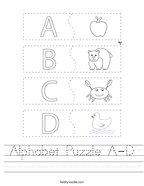 Alphabet Puzzle A-D Handwriting Sheet