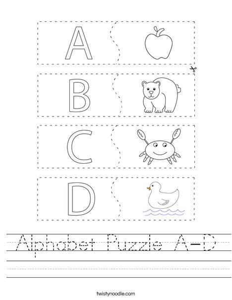 Alphabet Puzzle A-D Worksheet