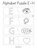 Alphabet Puzzle E-H Coloring Page
