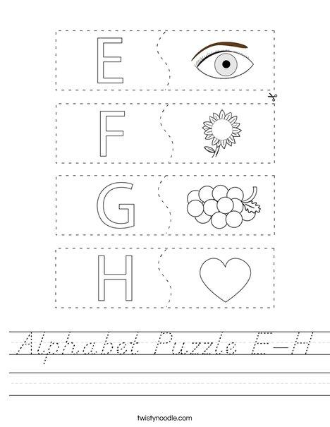 Alphabet Puzzle E-H Worksheet