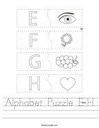 Alphabet Puzzle E-H Handwriting Sheet