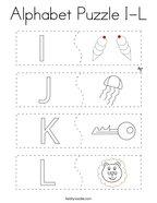 Alphabet Puzzle I-L Coloring Page