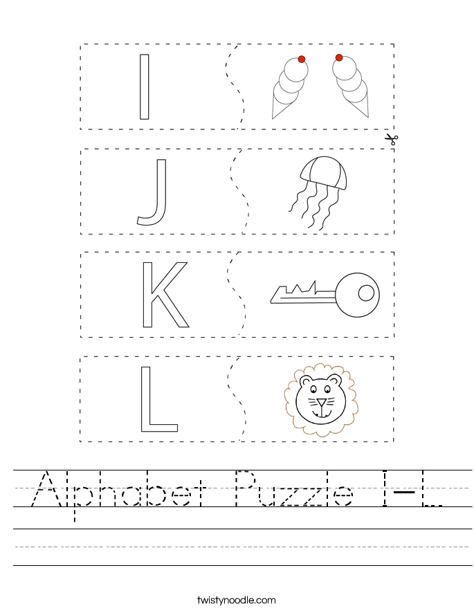 Alphabet Puzzle I-L Worksheet