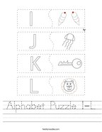 Alphabet Puzzle I-L Handwriting Sheet