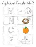 Alphabet Puzzle M-P Coloring Page