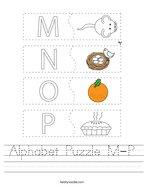 Alphabet Puzzle M-P Handwriting Sheet
