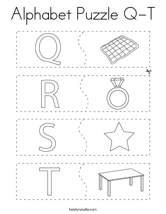 Alphabet Puzzle Q-T Coloring Page
