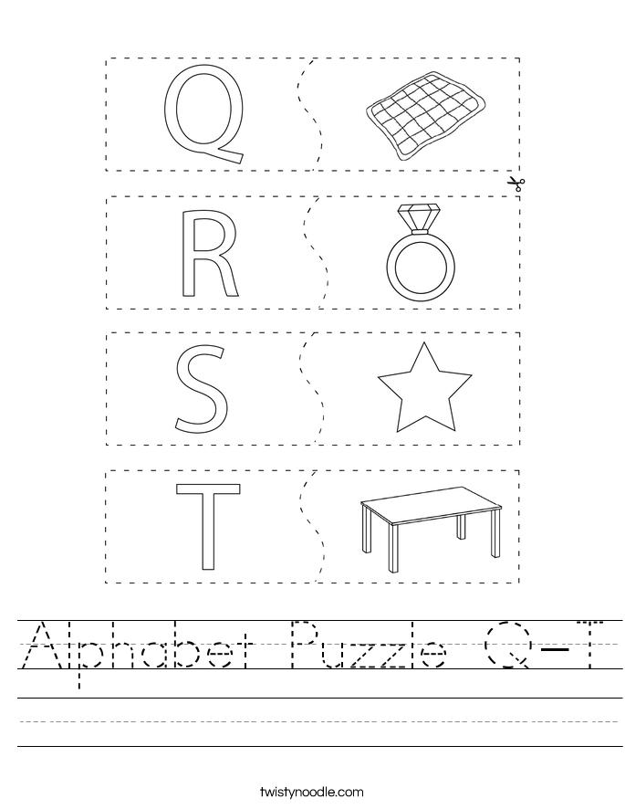 Alphabet Puzzle Q-T Worksheet