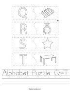 Alphabet Puzzle Q-T Handwriting Sheet