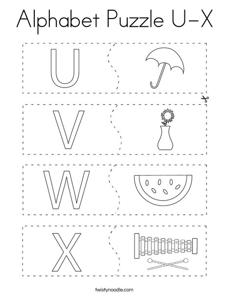 Alphabet Puzzle U-X Coloring Page