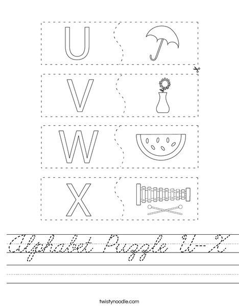 Alphabet Puzzle U-X Worksheet