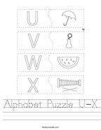 Alphabet Puzzle U-X Handwriting Sheet