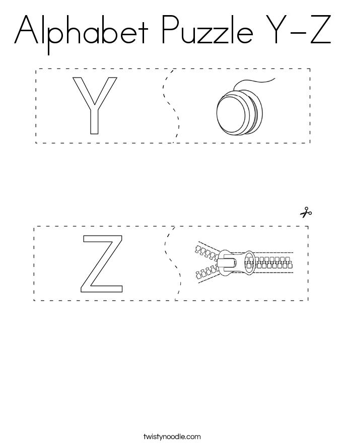 Alphabet Puzzle Y-Z Coloring Page