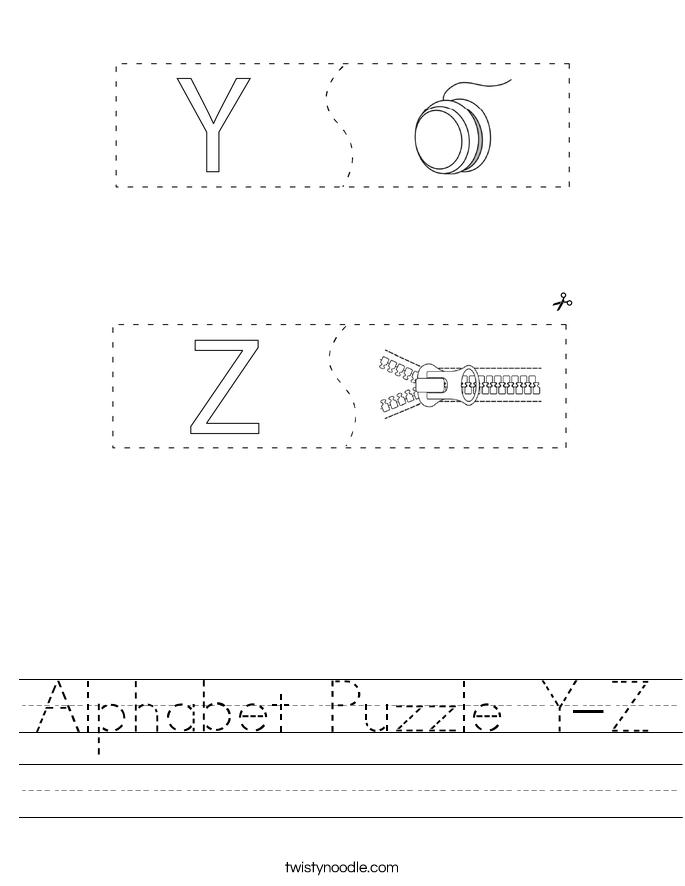 Alphabet Puzzle Y-Z Worksheet
