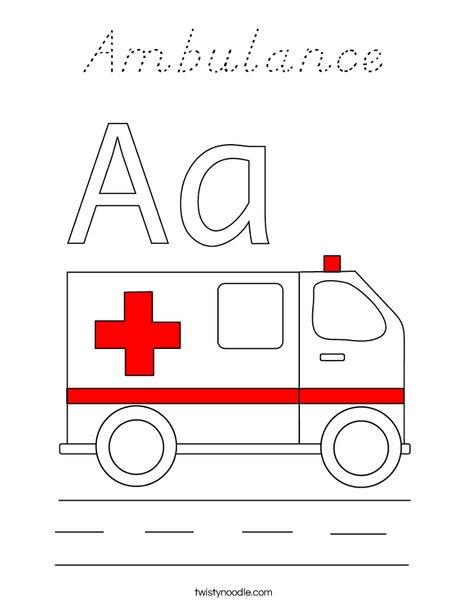 Ambulance Coloring Page