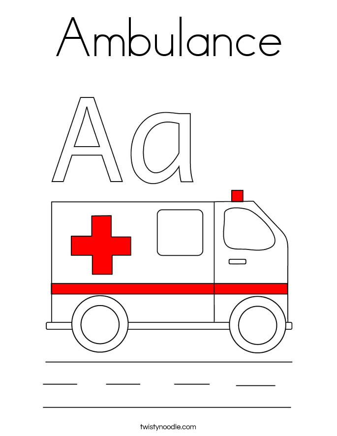Ambulance coloring page twisty noodle for Emergency coloring pages