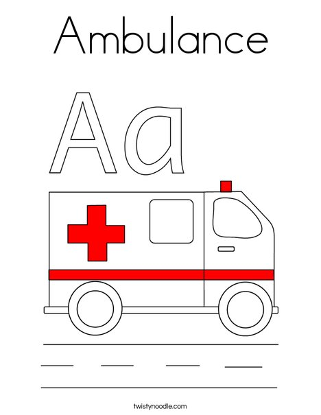 Online coloring fire truck - Emergency Coloring Pages Ambulance Coloring Page Twisty Noodle