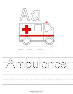 Ambulance Handwriting Sheet