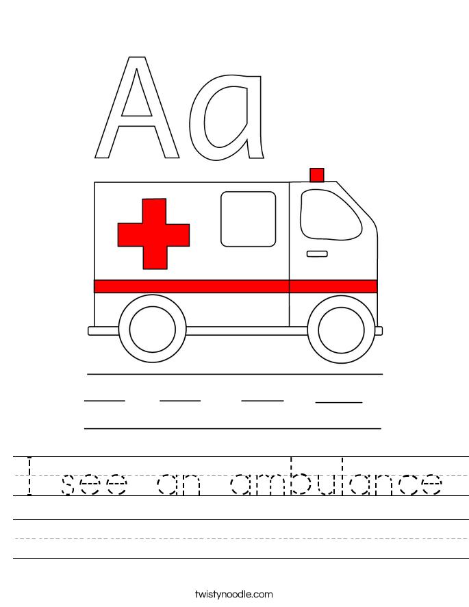 I see an ambulance Worksheet
